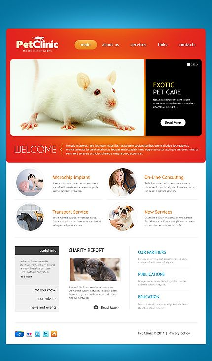"Simple Veterinarian Web Design ""Pet Clinic""  ~  Visit www.robotforce.com for Your very own CUSTOMIZED Version of this Web Design Template! ~"