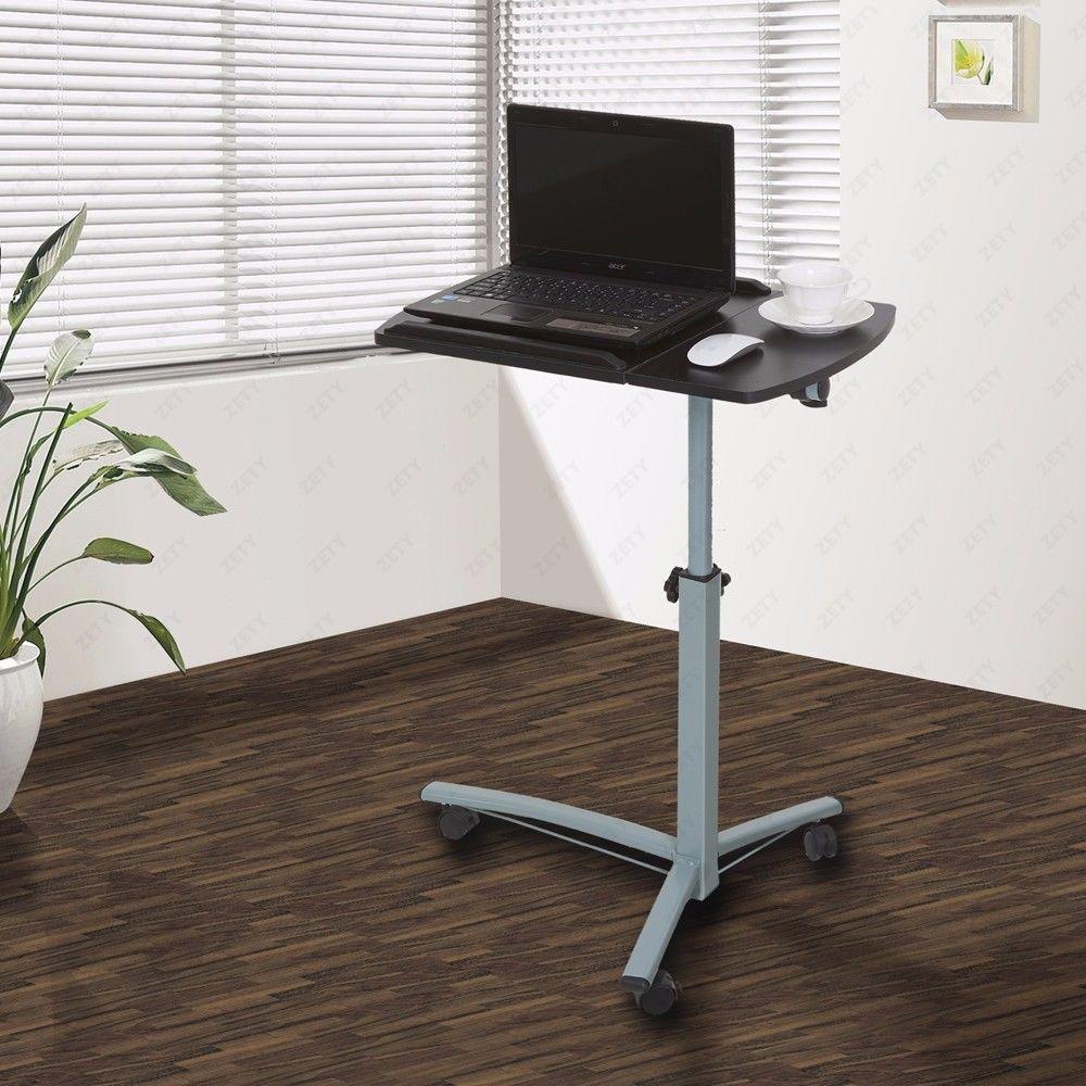 Rolling Laptop Table Overbed Desk Tilting Tabletop tv Food