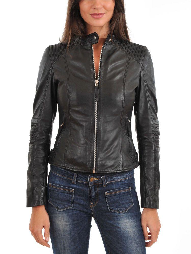 Silversoft Womens Lambskin Leather Bomber Biker Jacket