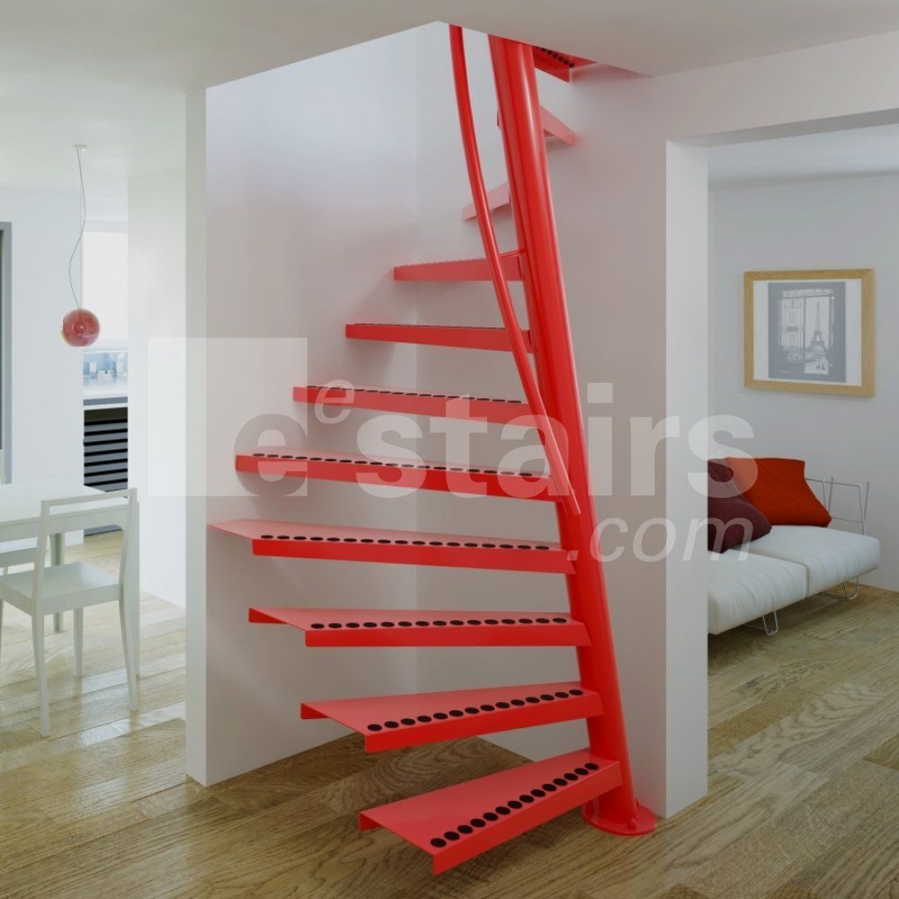 A Red Space Saving Staircase On A Wooden Floor, With A White Sleeper Sofa