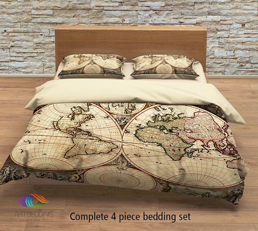Vintage world map bedding antique 1690 old map duvet cover set vintage map bedding vintage old map duvet cover antique map queen king gumiabroncs Gallery