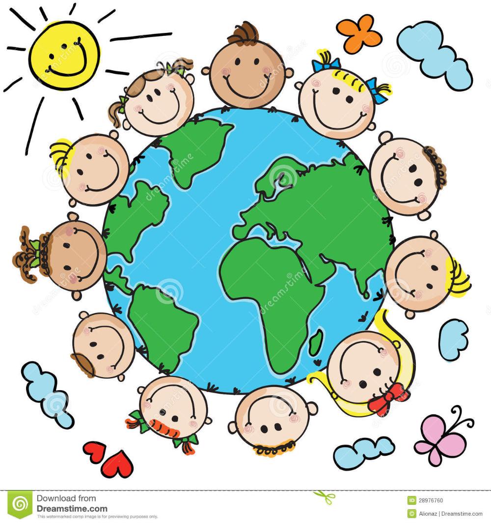 Ninos Y Planeta Ilustracion Del Vector Ilustracion De Grupo 28976760 Imagenes De Ninos Felices Dibujo De Ninos Jugando Distintivos Para Ninos