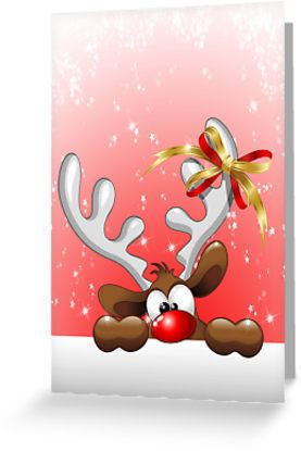 Funny Christmas Reindeer Cartoon  Greeting Card by BluedarkArt     Funny Christmas Reindeer Cartoon   Greeting Card