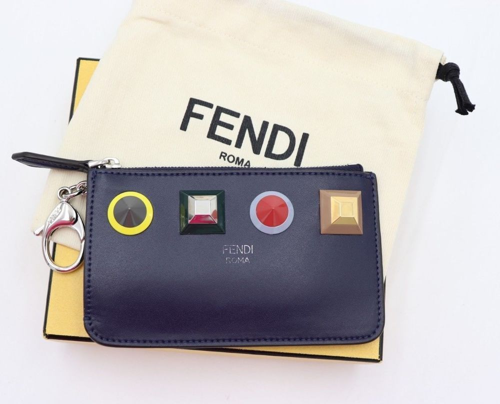 c4026778a8 NWT FENDI Leather Studded Rainbow Key Ring Coin Pouch Purse. Rainbow  Plexiglas studs. Pull-out strap with clip. Top zip closure. Made in Italy.