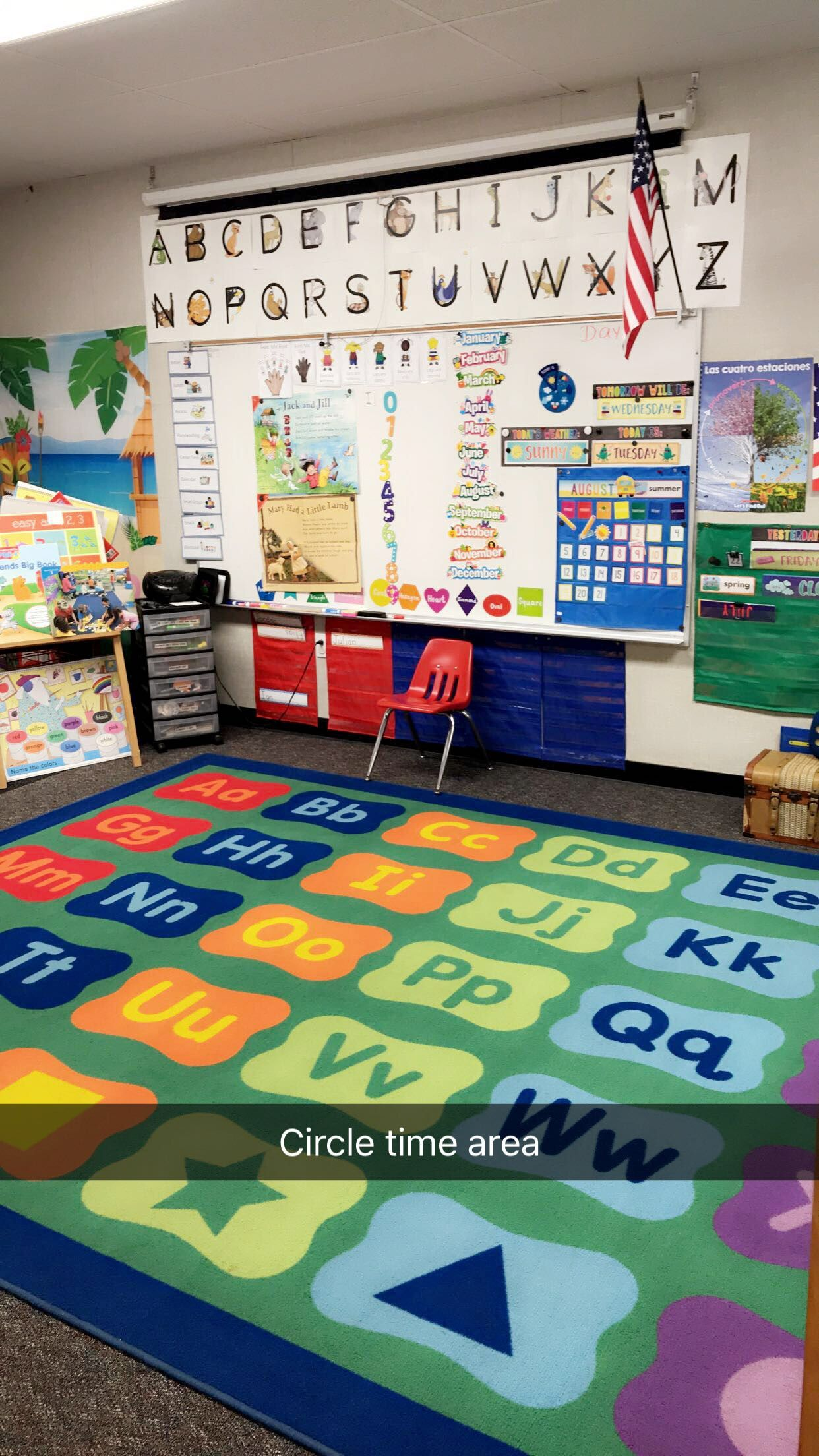 Circle Time Board And Carpet Area For Preschool