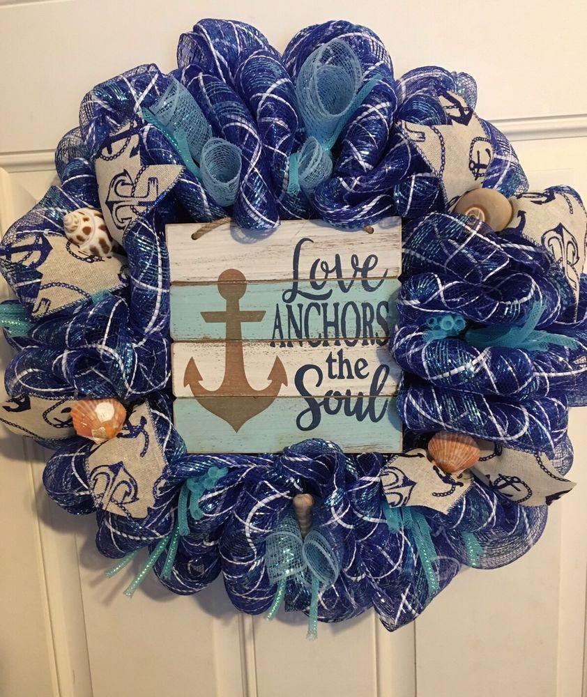 Nautica Deco Mesh Wreath Ebay Summer Deco Mesh Wreaths Mesh