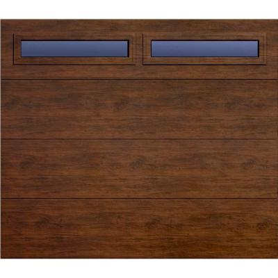 Martin Garage Doors Wood Collection Summit 8 Ft X 7 Ft Flush Panel Walnut Woodgrain R8 Insulation Full Vie Wood Garage Doors Martin Garage Doors Garage Doors