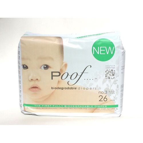 Poof Bio Disposable Diapers Chlorine Free Antibacterial Size 3 Taupe Chinoiserie Case of 4 26 CT