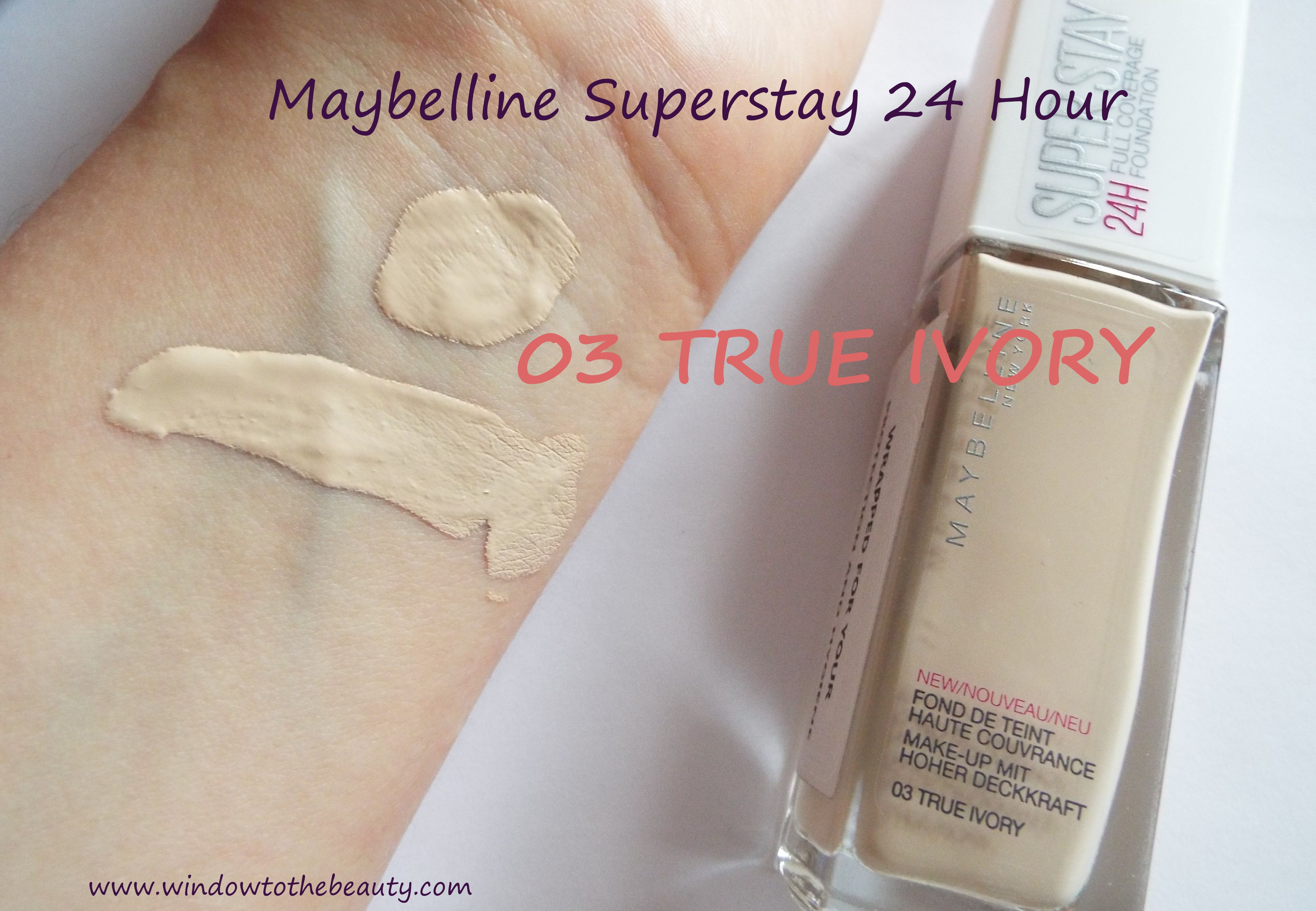 78aafb36bc1 Maybelline Superstay 24 Hour Foundation 03 True Ivory swatch ...
