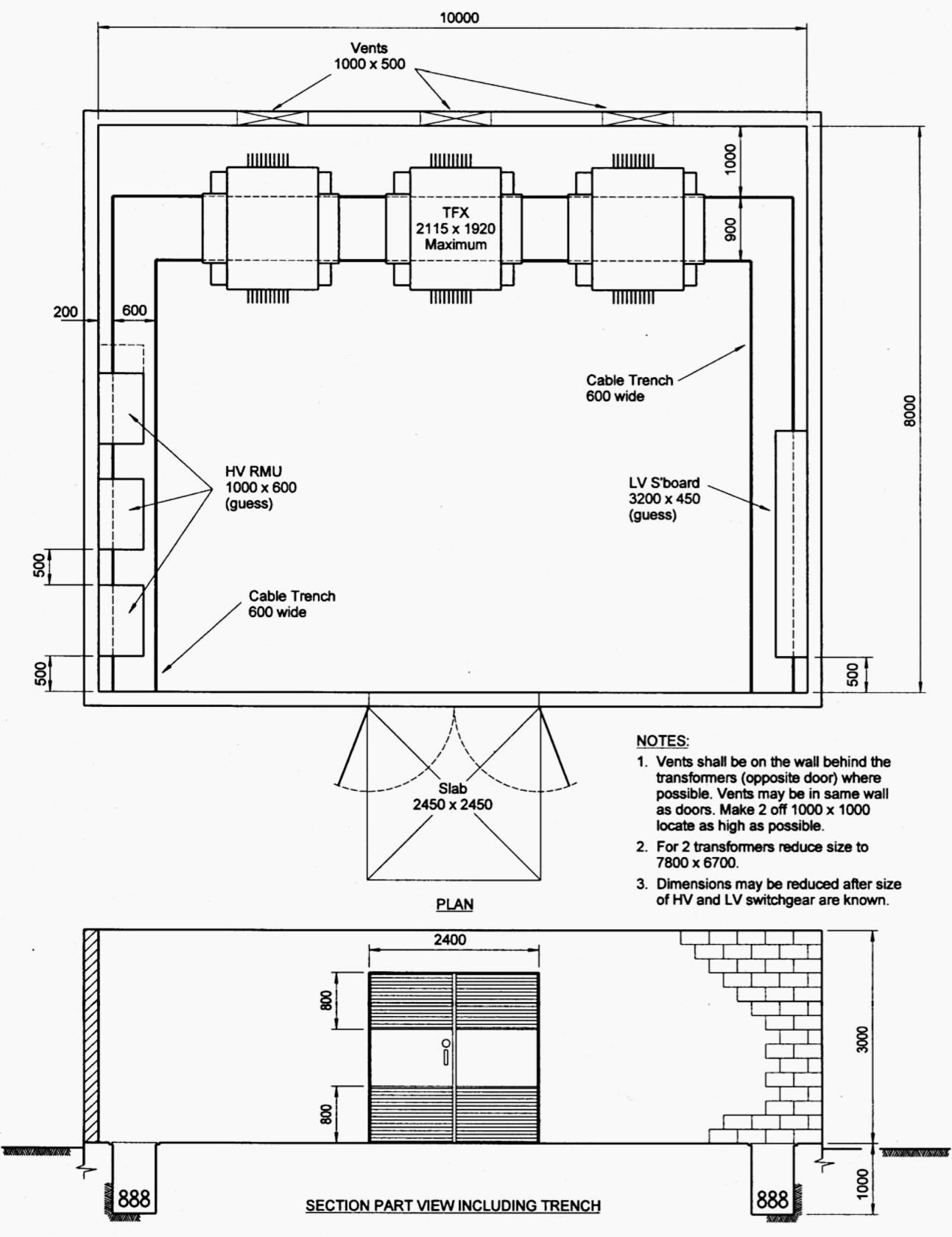 Indoor distribution substation layout with 3 transformers for Distribution substation