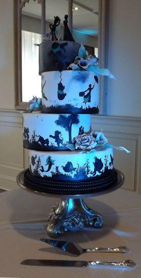 Disney Silhouette Wedding Cake Wedding Cakes In 2019 Silhouette