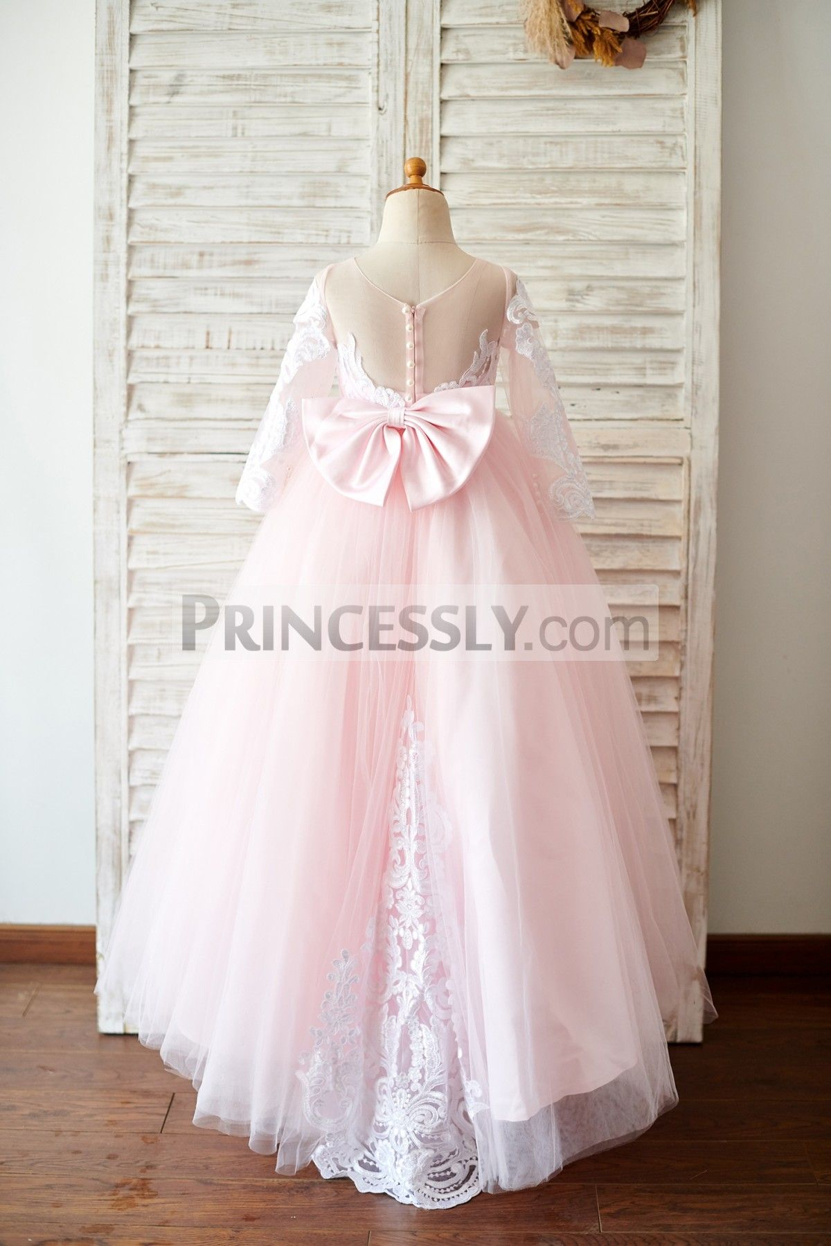 Ball gown long sleeves pink lace tulle wedding flower girl dress