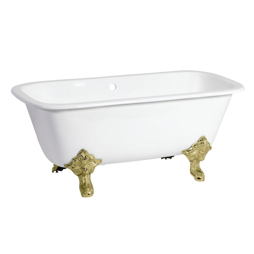 Aqua Eden Modern 67 In Cast Iron Polished Brass Double Ended Clawfoot Bathtub In White Clawfoot Bathtub Soaking Bathtubs Kingston Brass