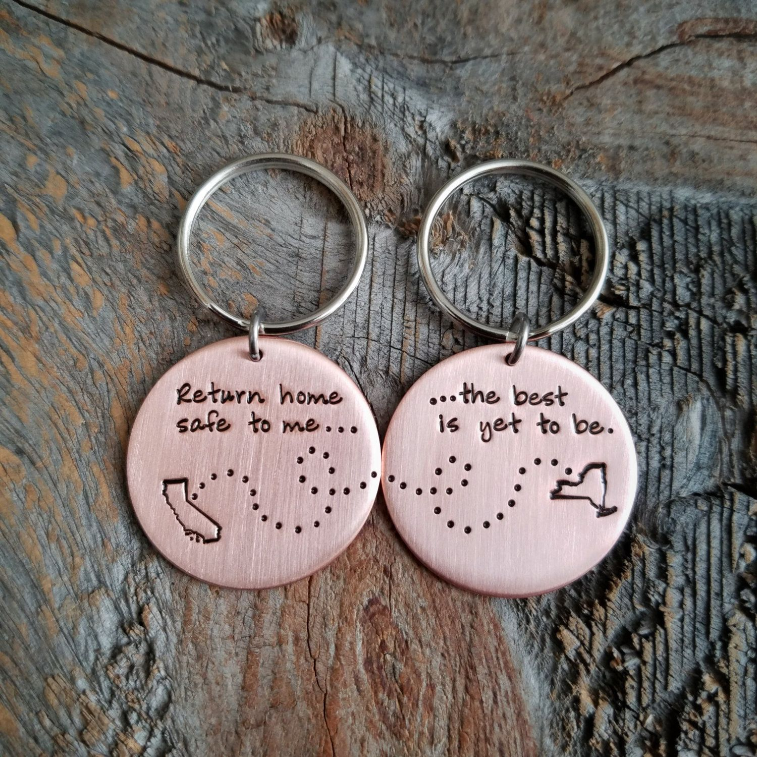Long Distance Relationship Gift Couples Boyfriend Girlfriend Husband Wife States Keychain The Best Is Yet To Be Copper By TheLonelyMoose