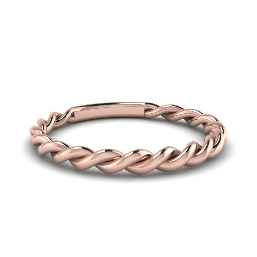 Twisted Rope Wedding Band In 18k Rose Gold Twist Wedding Band Silver Wedding Bands Rope Wedding Band