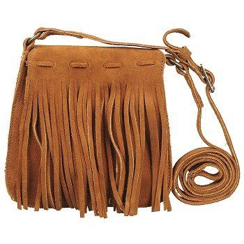 The Mini Fringe Bag from Minnetonka Moccasin is great for a quick trip to the store.Suede leather in a mini cross-body shoulder handbag style. Exterior features fold over flap with fringe detailed.  Interior snap button closure. Adjustable shoulder strap 6 inch high X 5 1/2 inch wide X 1 1/2 inch deep.