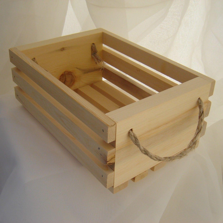 Wooden Gift Basket With Hemp Twine Handles Yellow Cedar Wood Great Way To Present