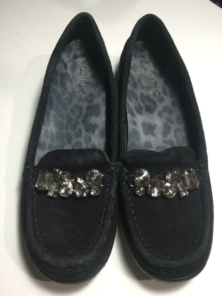 Black suede loafers, Vionic shoes
