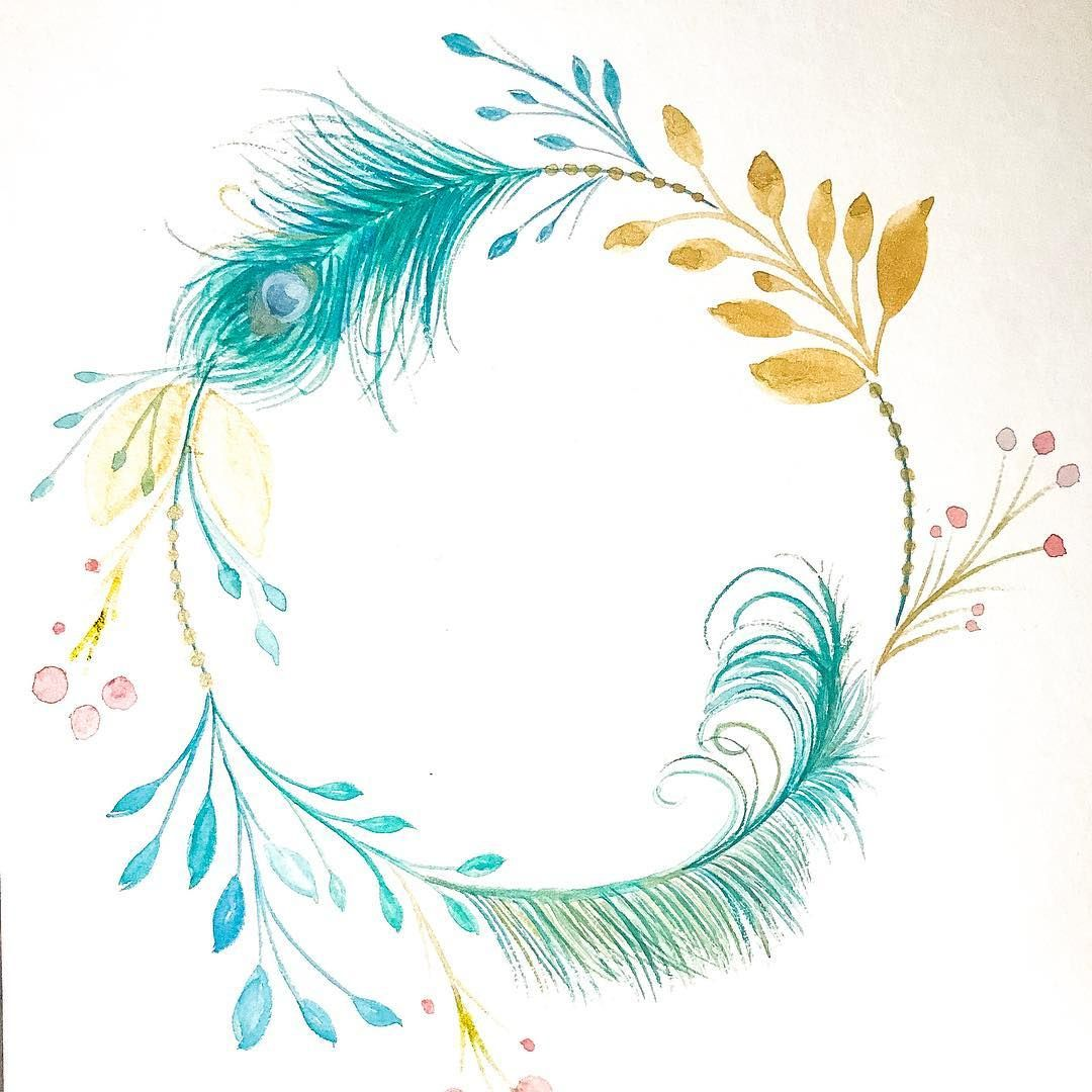 Christine Pe Instagram Happy Saturday Instafam I Was So Inspired By The Peacock Feather I Made This Beauty Flower Frame Wreath Watercolor Feather Painting