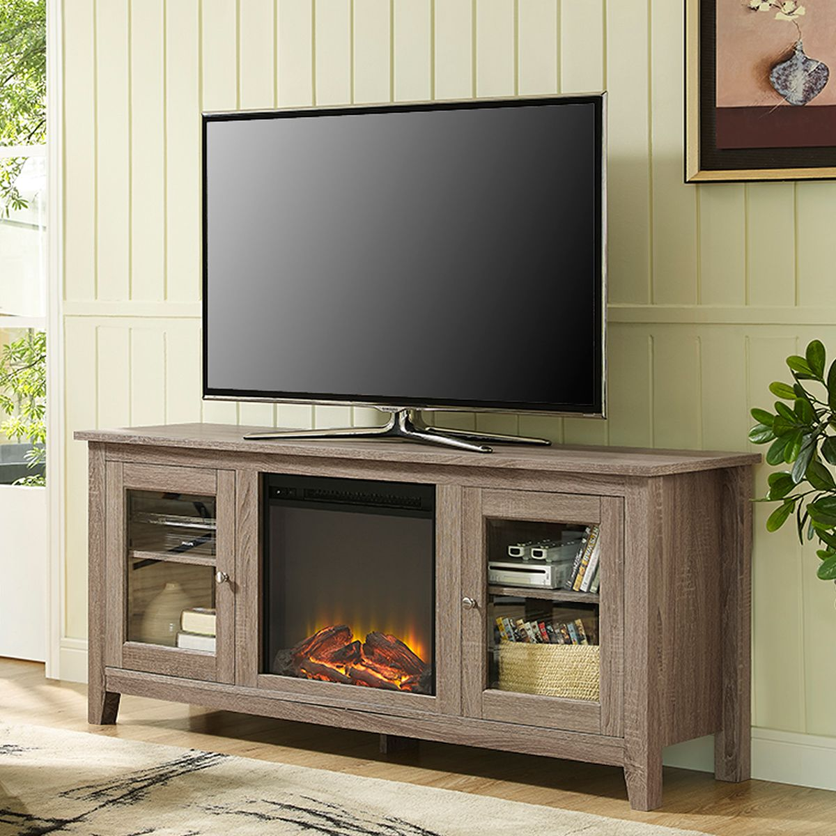 Walker Edison 58 Fireplace Tv Stand Doors Driftwood Fireplace