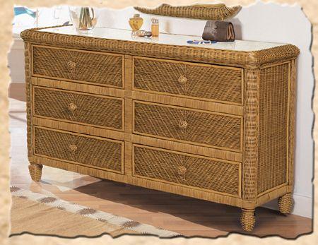 Santa Cruz Honey Wicker Bedroom Suite B579 by Seawinds Trading