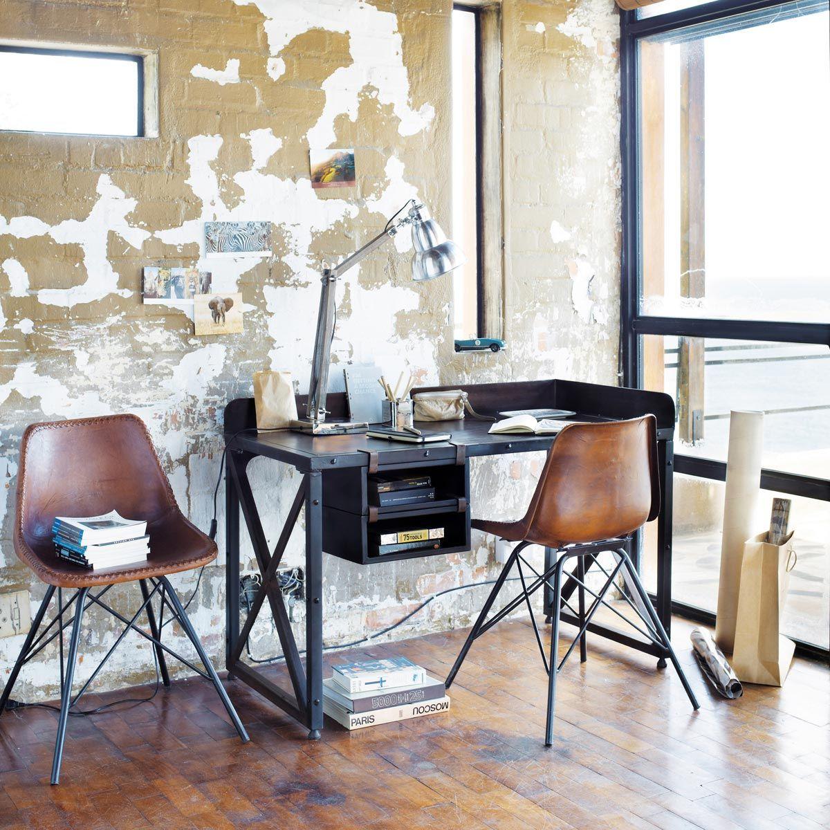 Laredo Brown Leather Dining Chair: Silla Industrial De Cuero Y Metal Marrón Austerlitz