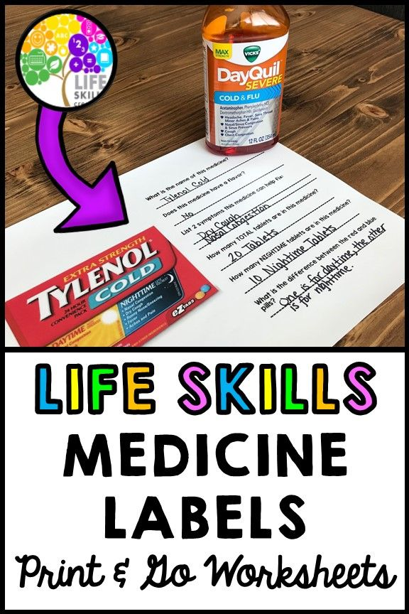 Help Your Students Learn To Properly Read Medicine Labels Great For Developing Real World Rea Life Skills Lessons Life Skills Classroom Life Skills Activities Reading medicine labels worksheets