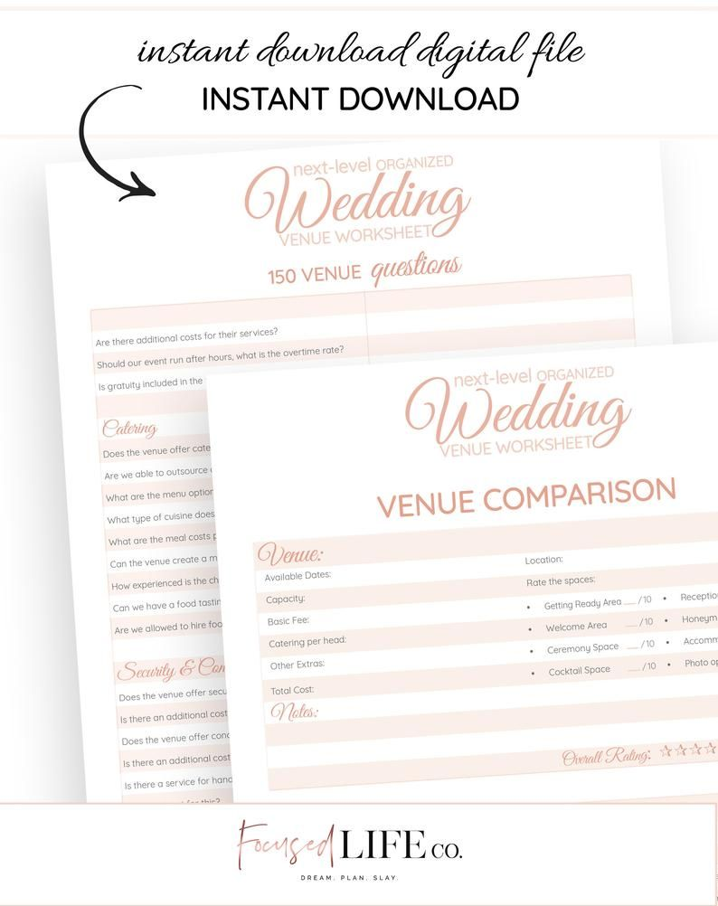 Wedding Venue Questions Workbook 150 Question Wedding Etsy Wedding Venue Questions Wedding Venues Checklist Wedding Planning Printables