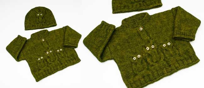 Child's knitted owl sweater and hat