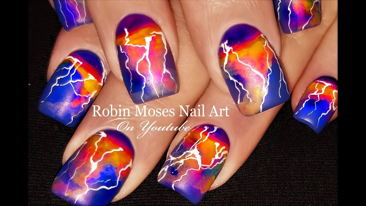 Lightning Nails! DIY Summer Storm Nail Art Design Tutorial - YouTube ...