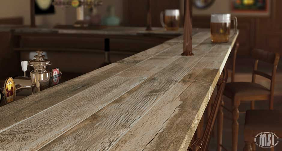 Salvage Brown Porcelain Wood Tile Countertop Use For Rustic