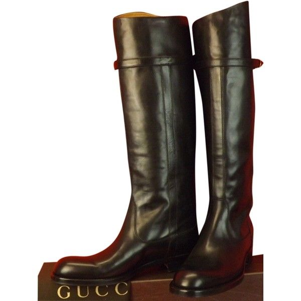 3301d8504d1 Pre-owned Gucci Eleonora Leather Belted Stirrup Tall Riding 35 5 Black.