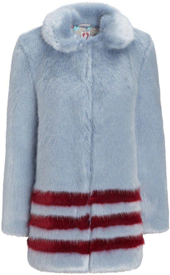 Shrimps Blue Faux Fur Dulcie Coat