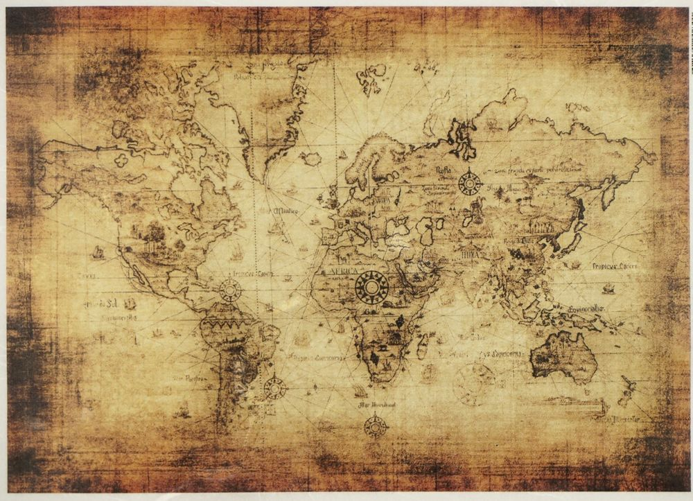 Rice Paper for Decoupage Decopatch Scrapbook Craft Sheet Old world map