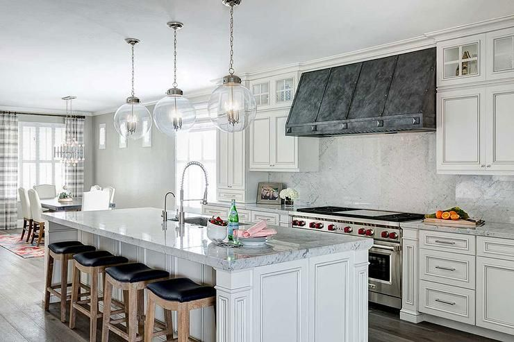 French White Kitchen Cabinets with Zinc Hood, Transitional, Kitchen ...