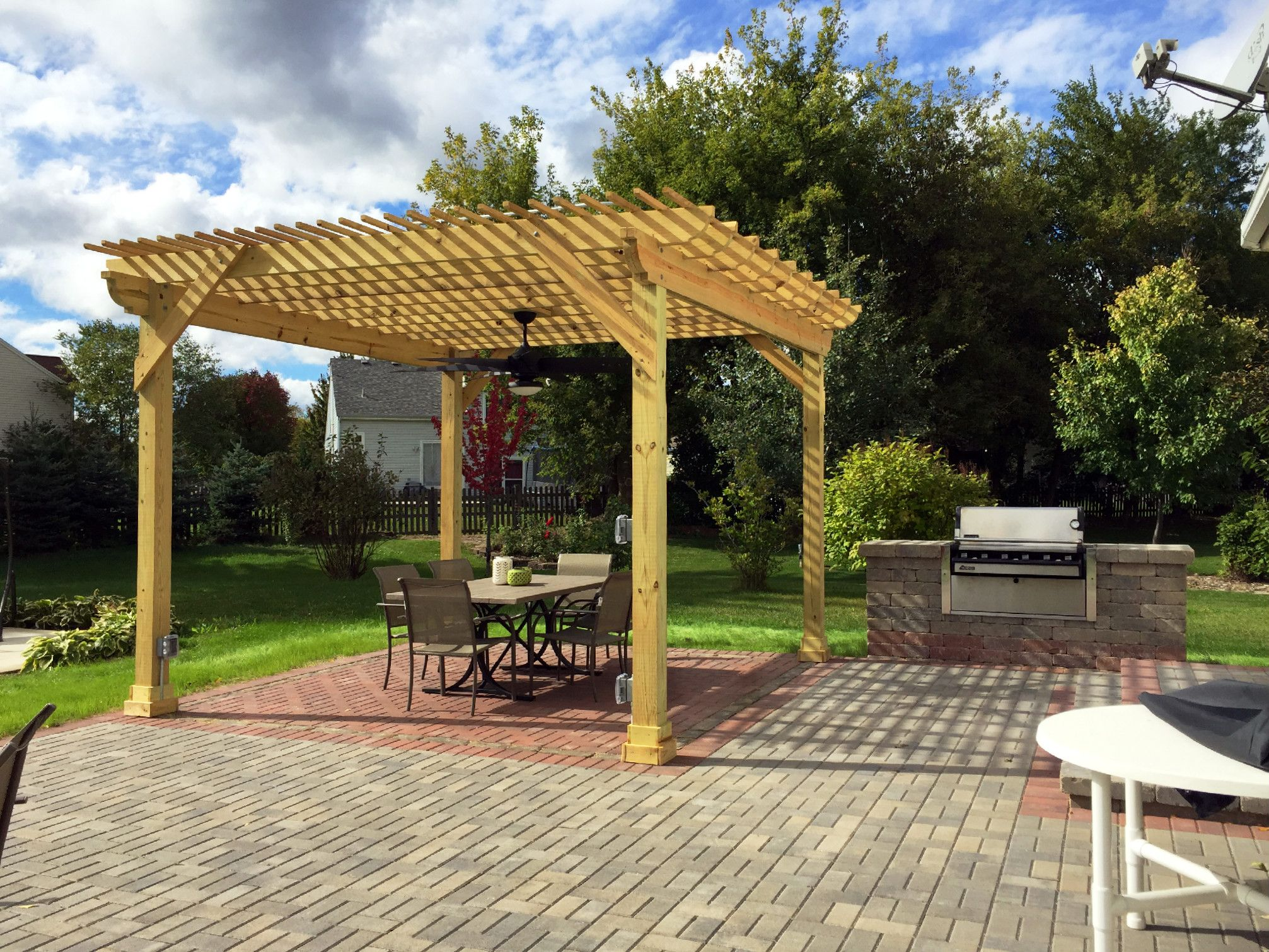 Custom Pergola Over Belgard Patio With Built In Grill Surround By Gurnee,  IL Patio