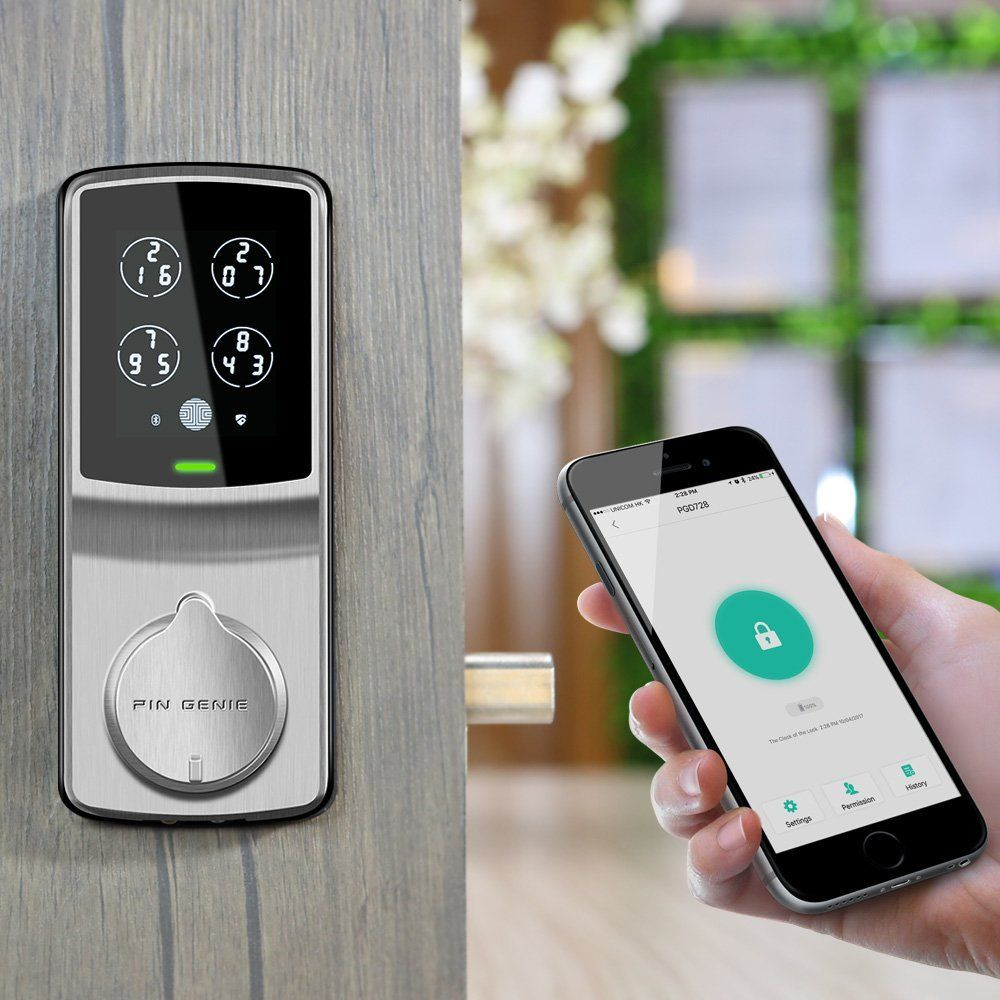 Bluetooth Keyless Entry Smart Door Lock Pgd 728 Patented Touchscreen Alarm System Wireless Home Security Systems Home Security Systems Wireless Home Security