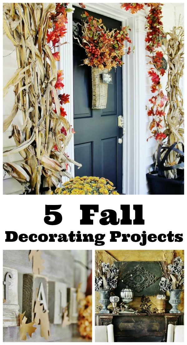 Five easy projects for fall including a mercury glass pumpkin...a state pumpkin project...fall mantel decorating and more