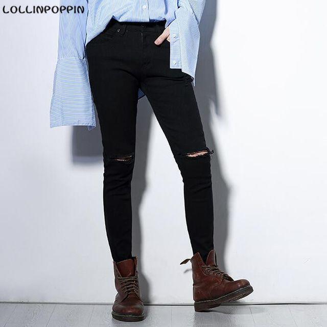 72ca3e98ad Hombres Negro Skinny Jeans Rasgados Pantalones vaqueros Rotos de La Rodilla  Nuevo 2017 de Corea Moda Masculina Delgada Lamentando los Pantalones  Vaqueros ...