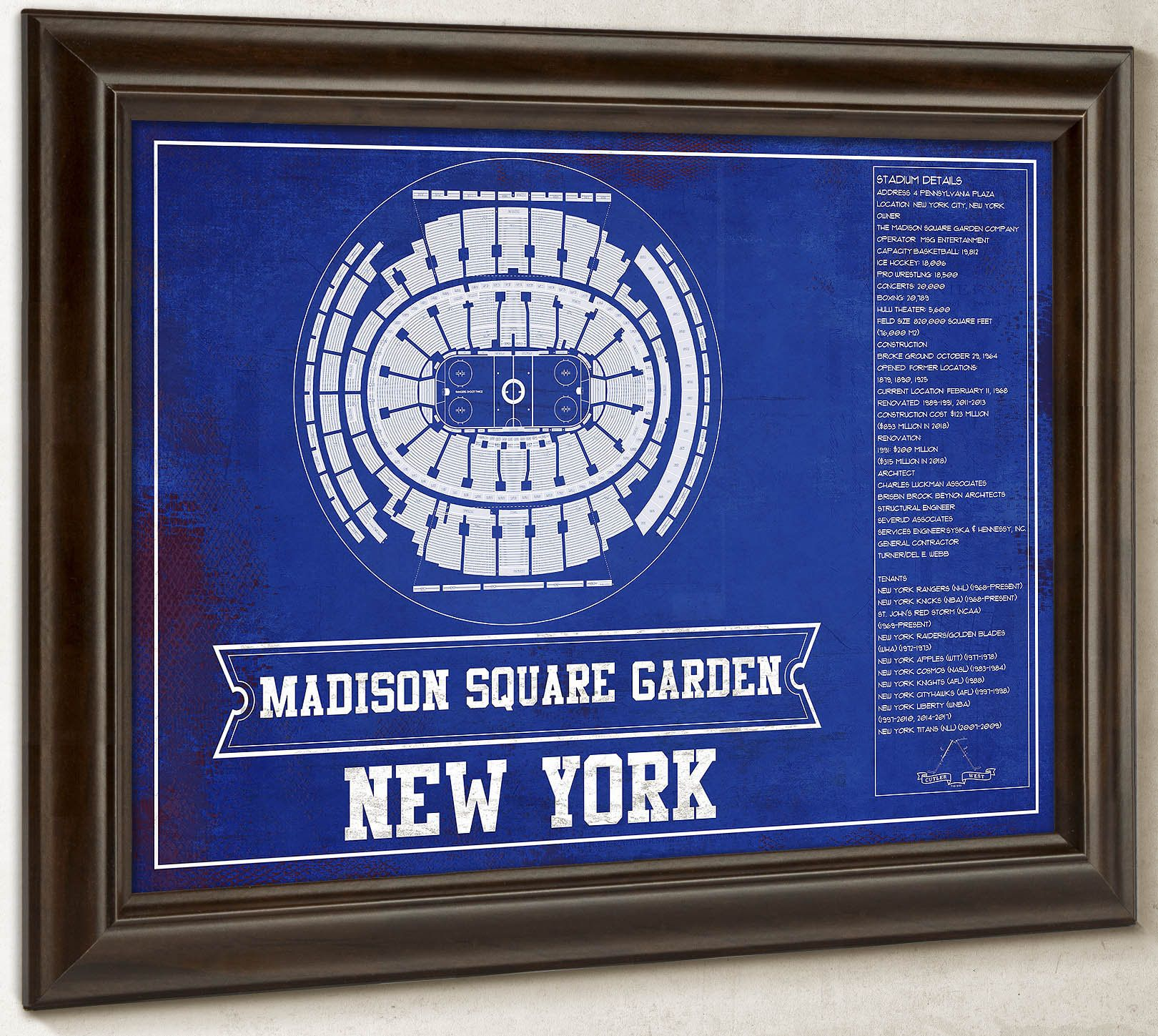 New York Rangers Madison Square Garden Seating Chart Vintage Hockey Print In 2020 Madison Square New York Rangers Madison Square Garden