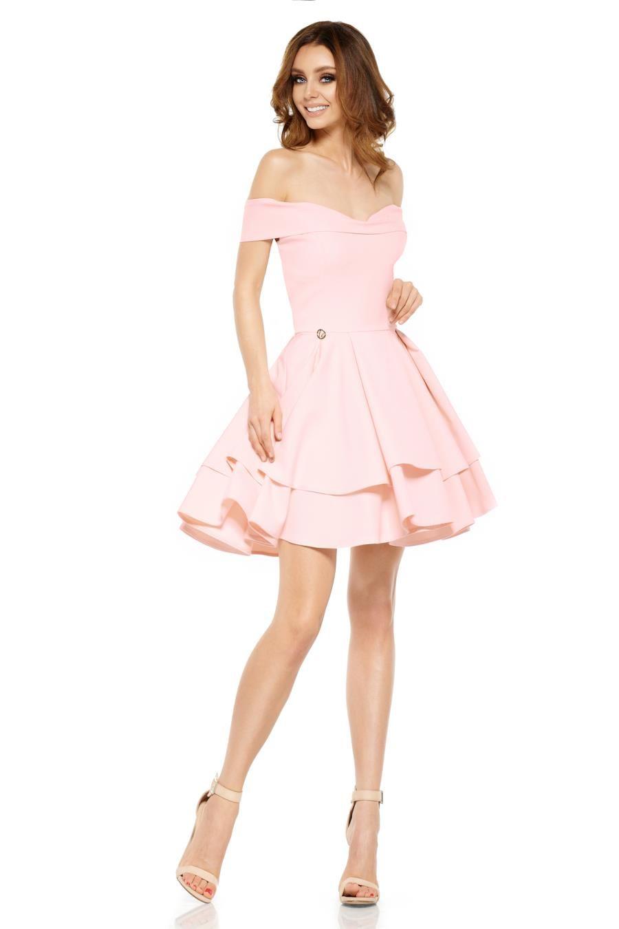 067b341c87 Mini Sukienka z Odkrytymi Ramionami Różowa LEL258