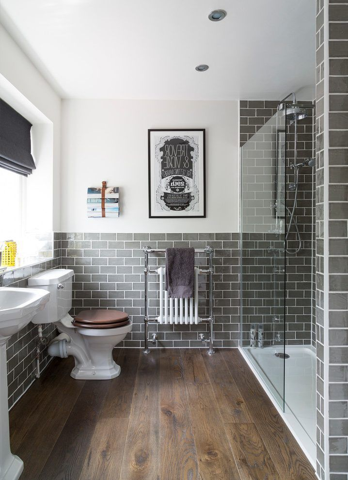 large format grey tile bathroom traditional with white and