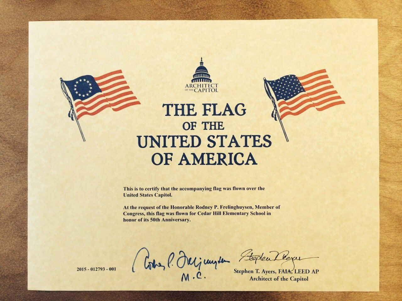 Flag Flown Certificate Template New Flag Flown Over Us Capitol In Honor Of Cedar Hill S 50th In 2020 Certificate Templates Templates Award Template