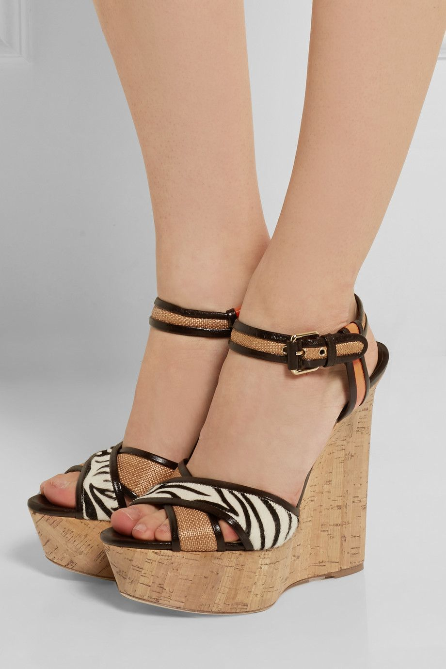 BRIAN ATWOOD Woman Isotta Leather, Raffia And Calf Hair Wedge Sandals Size 40
