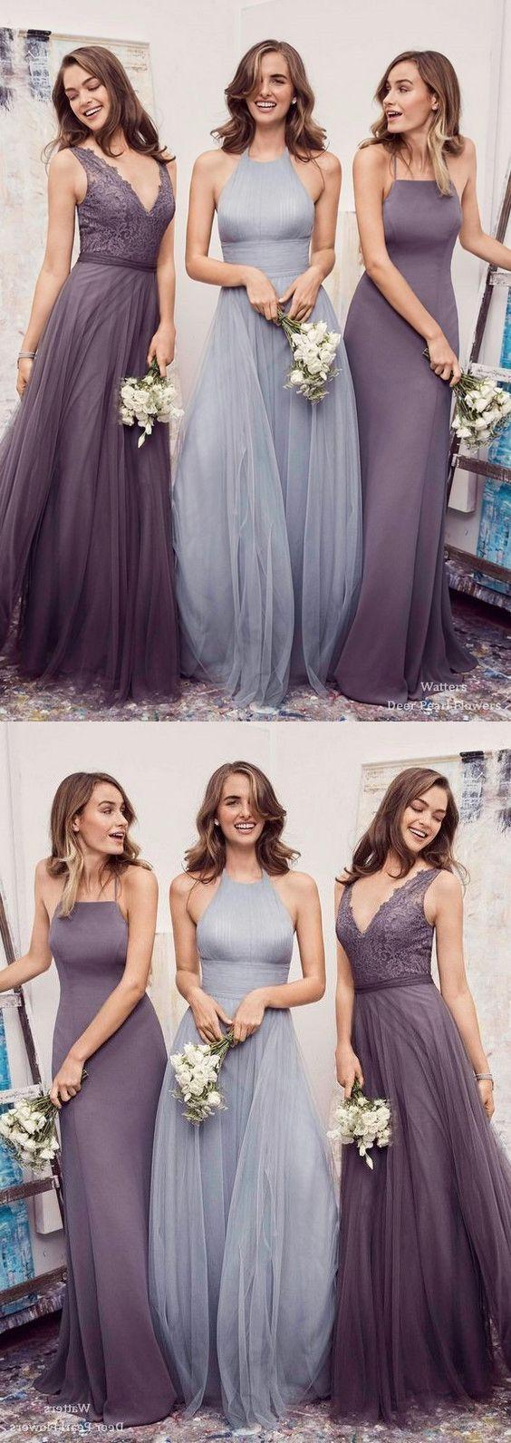 Lavenderlight blue chiffon bridesmaid dress halter v neck long