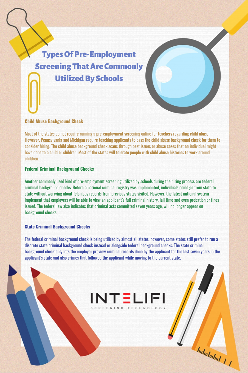 Types Of Pre Employment Screening That Are Commonly Utilized By Schools Employment School Kids School