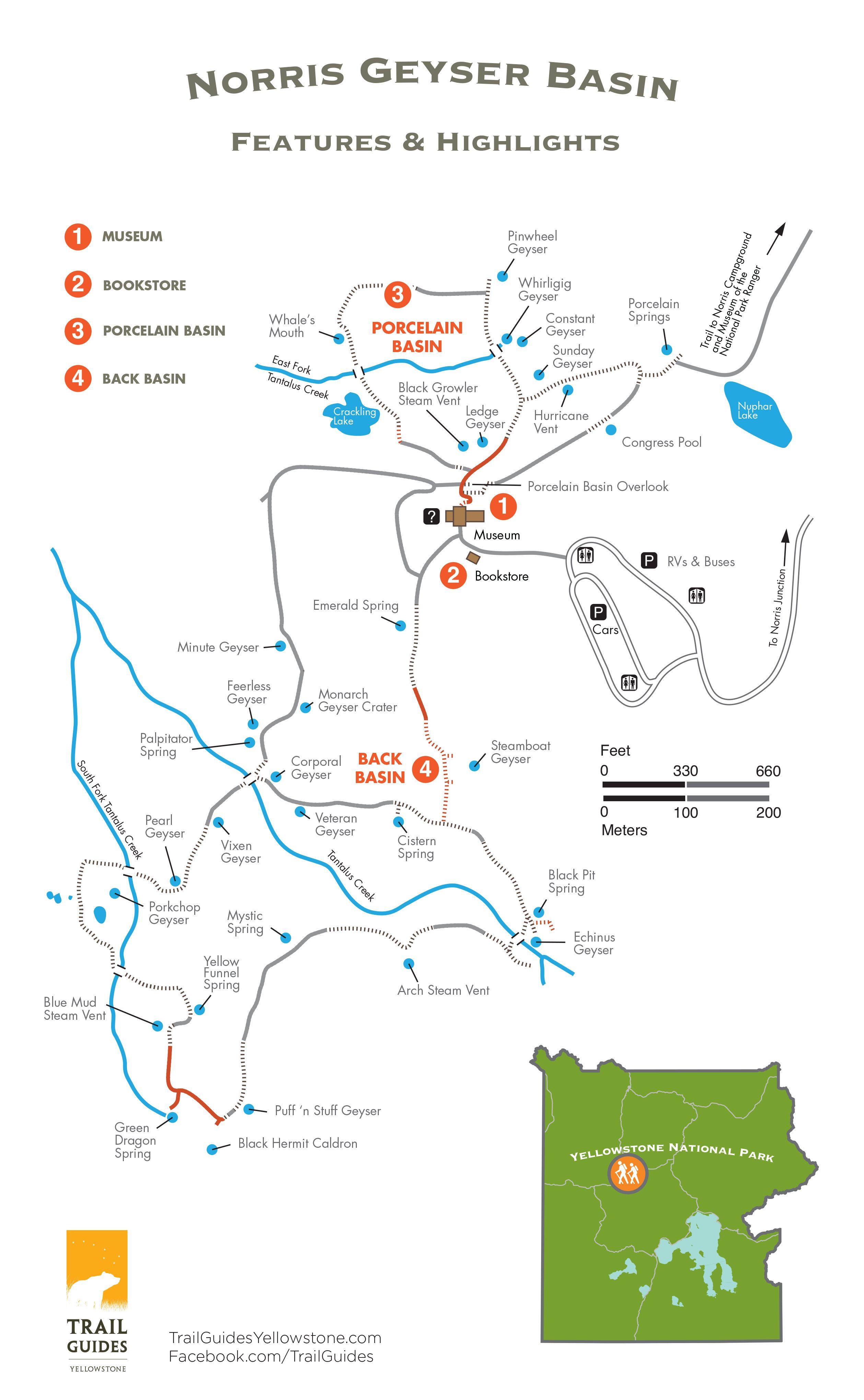 Norris Geyser Basin trail map | Maps of the major Yellowstone Geyser ...