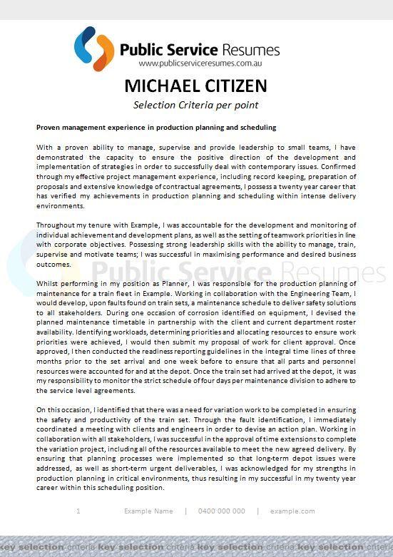 public service resumes  selection criteria per point