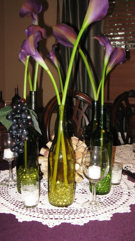 calla lily lighted centerpieces | Pictures with candles in all of the  bottles: - Calla Lily Lighted Centerpieces Pictures With Candles In All Of