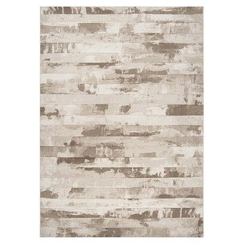 Contempo Cream Stripes Area Rug: i like that this reminds me of wood grain or birch trees ^_^